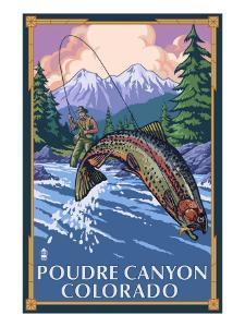 Poudre Canyon, Colorado - Fisherman by Lantern Press
