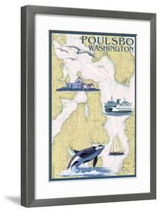 Poulsbo, Washington - Nautical Chart by Lantern Press