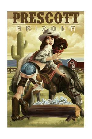 Prescott, Arizona - Cowgirl Pinup by Lantern Press
