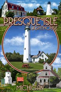 Presque Isle, Michigan - Lighthouse Montage by Lantern Press