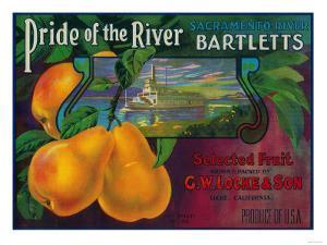 Pride of the River Pear Crate Label - Locke, CA by Lantern Press