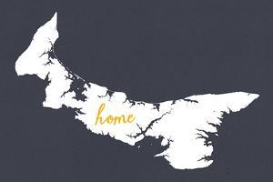 Prince Edward Island - Home - White on Gray by Lantern Press