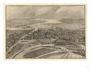 Providence, Rhode Island - Panoramic Map by Lantern Press