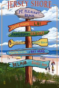 Pt. Pleasant Beach, New Jersey - Destinations Signpost by Lantern Press