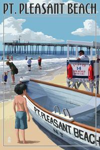 Pt. Pleasant Beach, New Jersey - Lifeguard Stand by Lantern Press