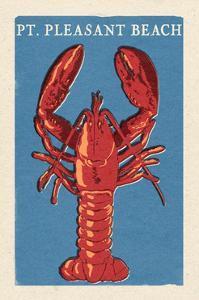 Pt. Pleasant Beach, New Jersey - Lobster Woodblock by Lantern Press