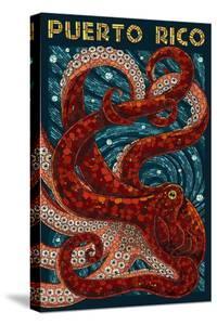 Puerto Rico - Octopus Mosaic by Lantern Press