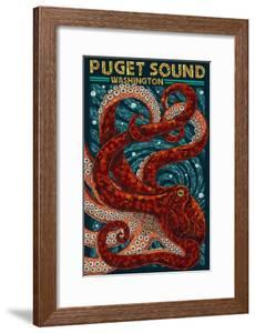 Puget Sound, Washington - Octopus Mosaic by Lantern Press