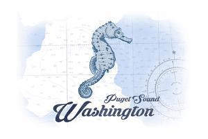 Puget Sound, Washington - Seahorse - Blue - Coastal Icon by Lantern Press