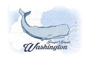 Puget Sound, Washington - Whale - Blue - Coastal Icon by Lantern Press