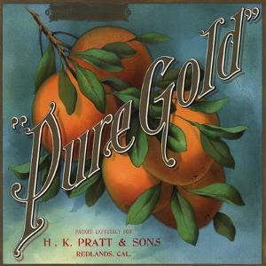 Pure Gold Brand - Redlands, California - Citrus Crate Label by Lantern Press