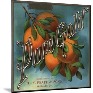 Pure Gold Brand - Redlands, California - Citrus Crate Label by Lantern Press