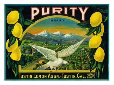Purity Lemon Label - Tustin, CA by Lantern Press
