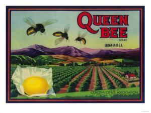 Queen Bee Lemon Label - Corona, CA by Lantern Press