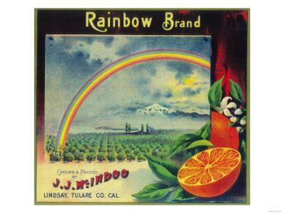 Rainbow Orange Label - Lindsay, CA by Lantern Press