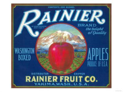 Rainier Apple Label - Yakima, WA by Lantern Press