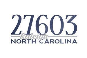 Raleigh, North Carolina - 27603 Zip Code (Blue) by Lantern Press