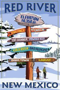 Red River, New Mexico - Destinations Signpost by Lantern Press