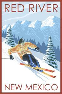 Red River, New Mexico - Downhill Skier by Lantern Press