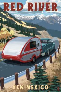 Red River, New Mexico - Fall Retro Camper by Lantern Press