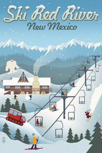 Red River, New Mexico - Retro Ski Resort by Lantern Press