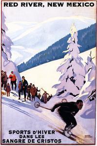 Red River, New Mexico - Sangre De Cristos - Spectators Watching Skier - Artwork by Lantern Press