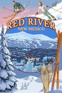 Red River, New Mexico - Winter Scenes Montage by Lantern Press
