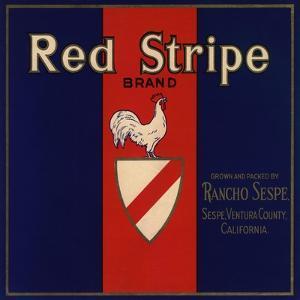 Red Stripe Brand - Sespe, California - Citrus Crate Label by Lantern Press