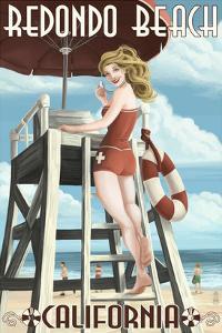 Redondo Beach, California - Lifeguard Pinup by Lantern Press