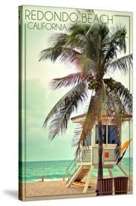 Redondo Beach, California - Lifeguard Shack and Palm by Lantern Press