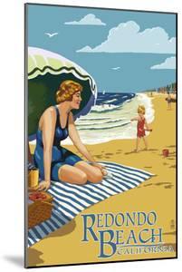 Redondo Beach, California - Woman on the Beach by Lantern Press