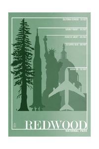 Redwood National Park - Redwood Relative Sizes by Lantern Press