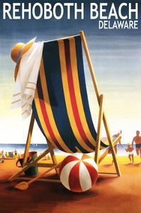 Rehoboth Beach, Delaware - Beach Chair and Ball by Lantern Press