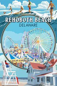 Rehoboth Beach, Delaware - Montage by Lantern Press
