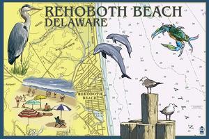 Rehoboth Beach, Delaware - Nautical Chart by Lantern Press