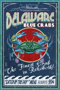 Rehoboth, Delaware - Blue Crabs Vintage Sign by Lantern Press