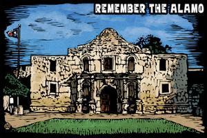 Remember the Alamo - Scratchboard by Lantern Press
