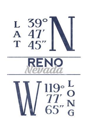 Reno, Nevada - Latitude and Longitude (Blue)