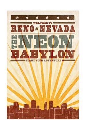 Reno, Nevada - Skyline and Sunburst Screenprint Style