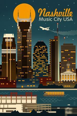 Retro Skyline - Nashville, Tennessee by Lantern Press