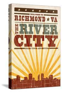 Richmond, Virginia - Skyline and Sunburst Screenprint Style by Lantern Press