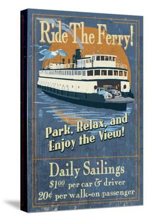 Ride the Ferry (Blue Version) - Vintage Sign