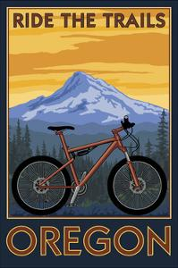 Ride the Trails - Oregon (Tree Background) by Lantern Press
