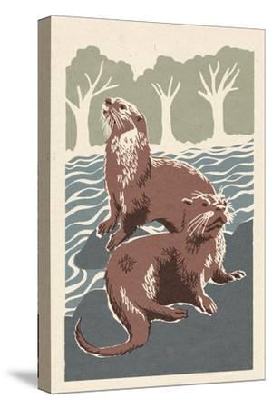 River Otters - Woodblock Print