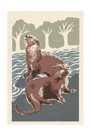 River Otters - Woodblock Print by Lantern Press