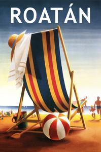 Roatan - Beach Chair and Ball by Lantern Press