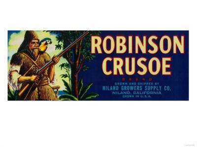 Robinson Crusoe Melon Label - Niland, CA by Lantern Press