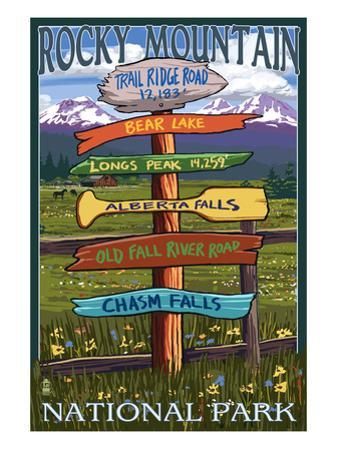 Rocky Mountain National Park, Colorado - Trail Ridge Road, Sign Destinations by Lantern Press