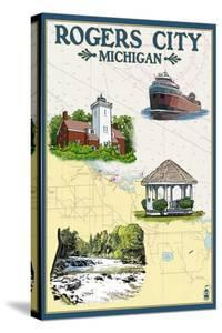 Rogers City, Michigan - Nautical Chart by Lantern Press