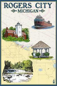 Rogers City, Michigan - Nautical Chart by Lantern Press